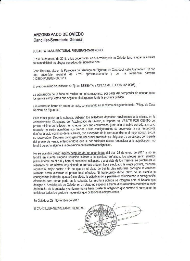 Vecinos de Figueras (Castropol) se oponen a que el Arzobispado subaste la Rectoral de Figueras