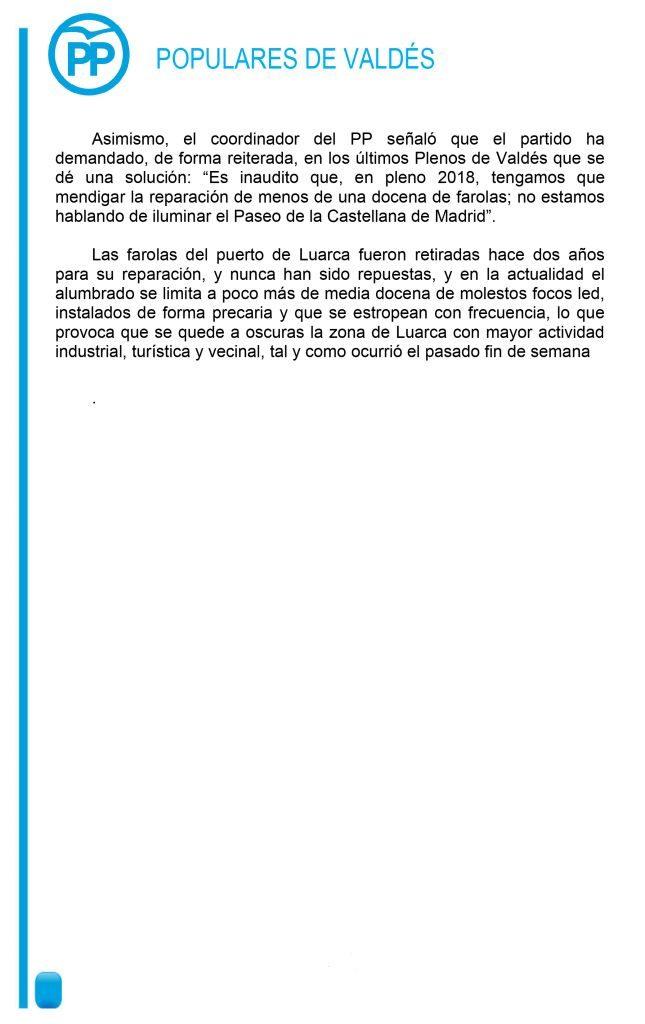 El PP de Valdés pide que se refuerce el alumbrado del muelle de Luarca antes de Semana Santa