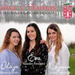 Las naviegas Eva González, Olaya Benito y Nayara Álvarez, Reina y Damas del LXI DESCENSO