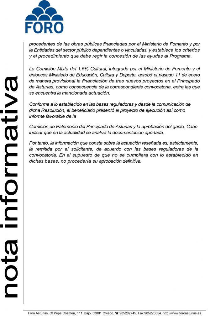 """El Gobierno de España responde a FORO Asturias que en la actualidad """"está estudiando el informe técnico de la Comisión de Patrimonio del Principado sobre la actuación en el Chao Samartín"""""""