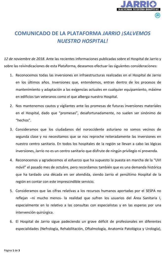 """La Plataforma Jarrio Salvemos Nuestro Hospital seguirá desarrollando las """"acciones que considere oportunas para defender el presente y el futuro del Hospital de Jarrio"""""""