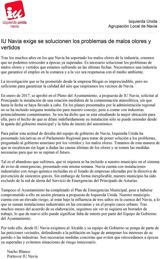 IU Navia exige se solucionen los problemas de malos olores y vertidos