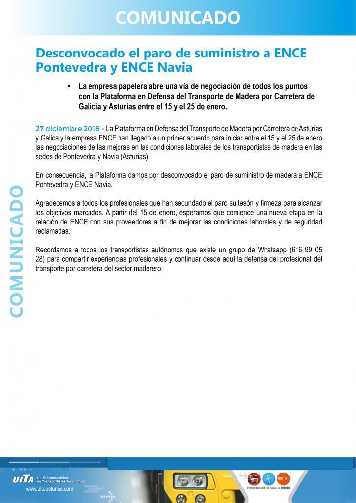 La Plataforma en Defensa del Transporte de Madera por Carretera desconvoca el paro de suministro a ENCE