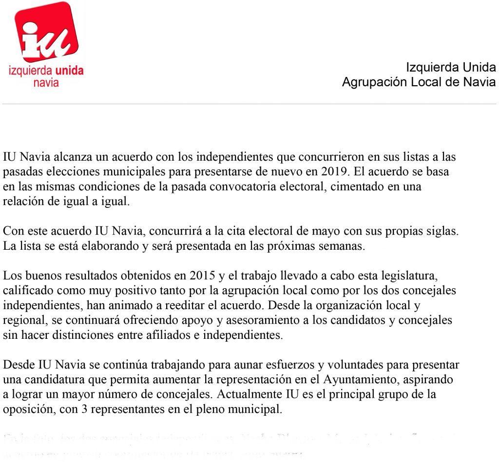 IU de Navia concurrirá a las elecciones de mayo con sus propias siglas, tras refrendar el acuerdo con los concejales independientes
